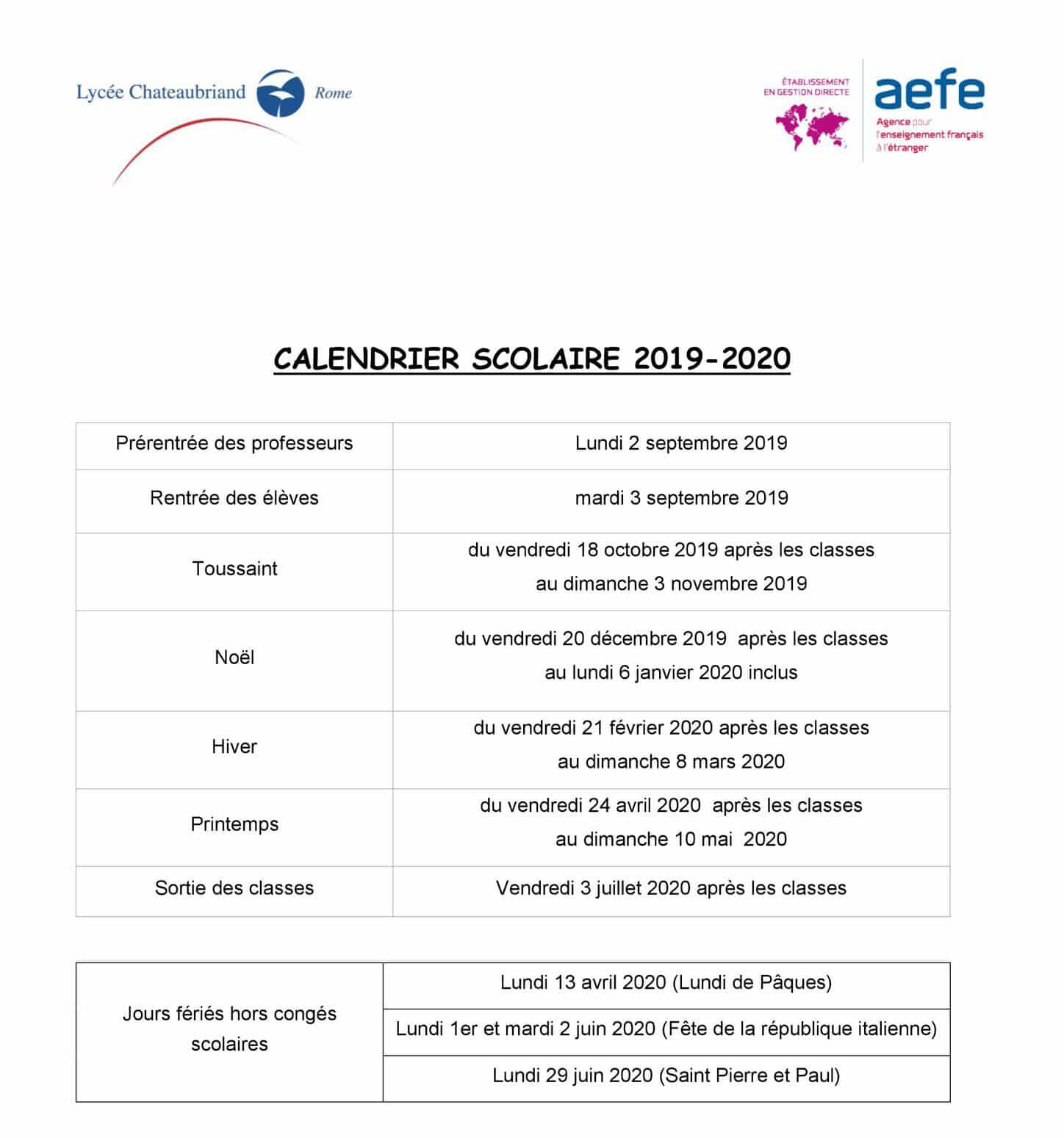 Novembre 2020 Calendario.Calendario Scolastico 2019 2020 Ape Chato Roma