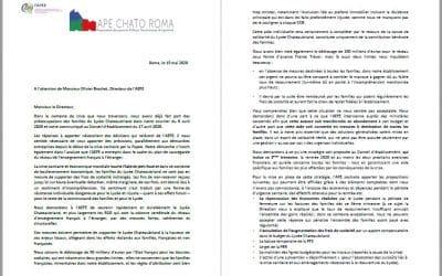 Lettre à l'AEFE du 15 mai 2020